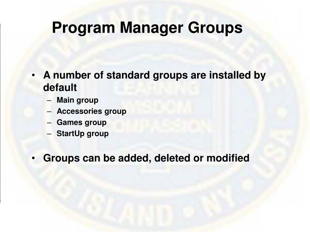 Program Manager Groups