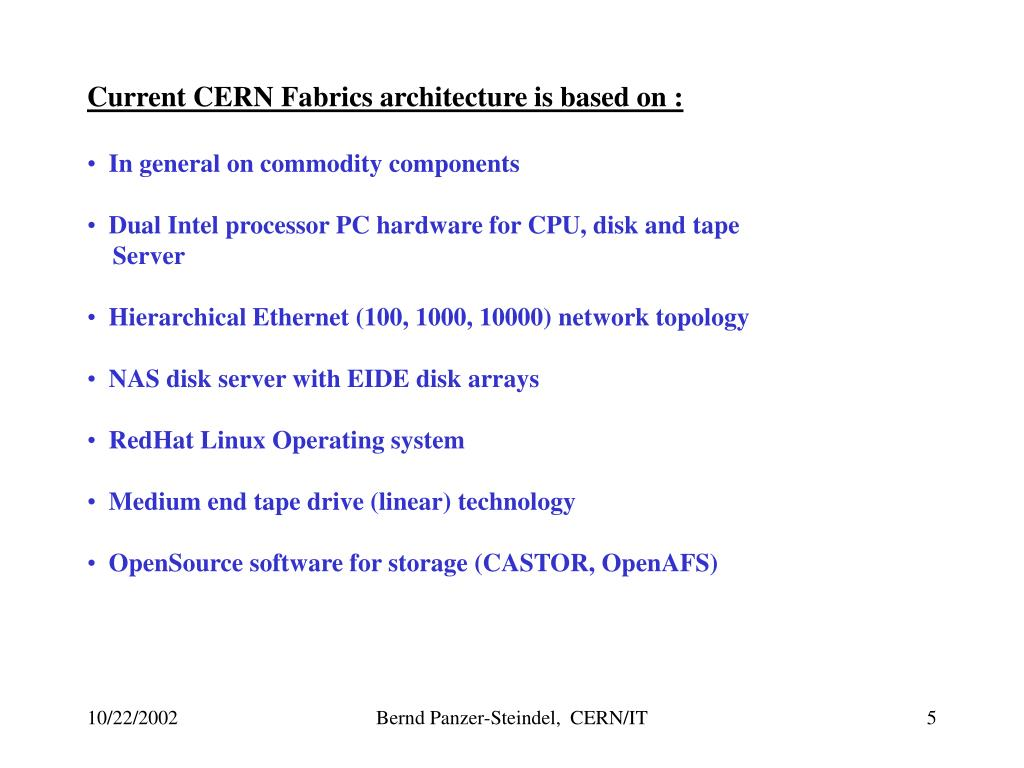 Current CERN Fabrics architecture is based on :