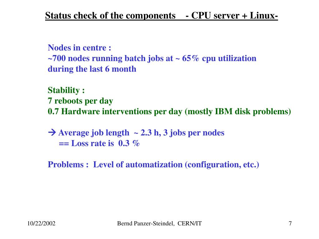 Status check of the components    - CPU server + Linux-