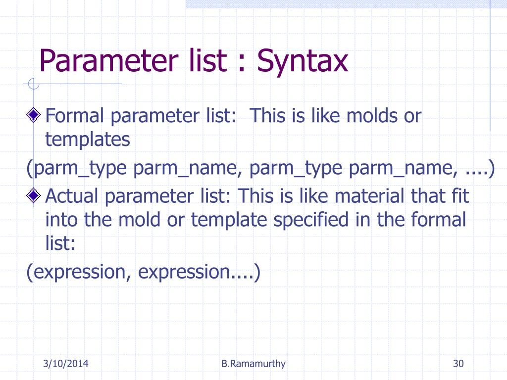 Parameter list : Syntax