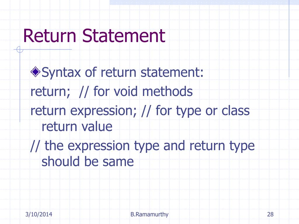 Return Statement