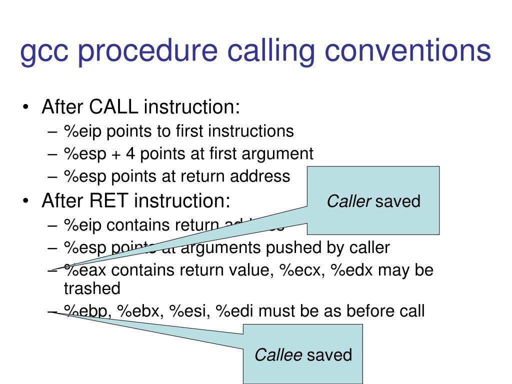 gcc procedure calling conventions