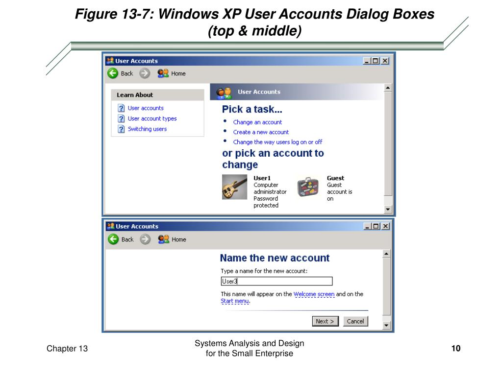 Figure 13-7: Windows XP User Accounts Dialog Boxes