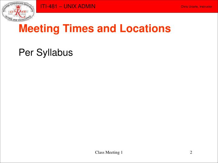 Meeting times and locations