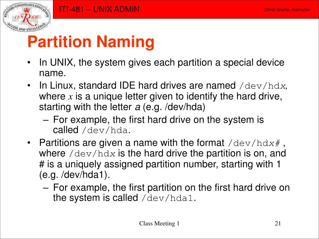 Partition Naming