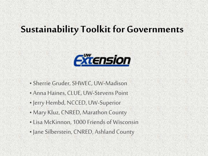 Sustainability Toolkit for Governments