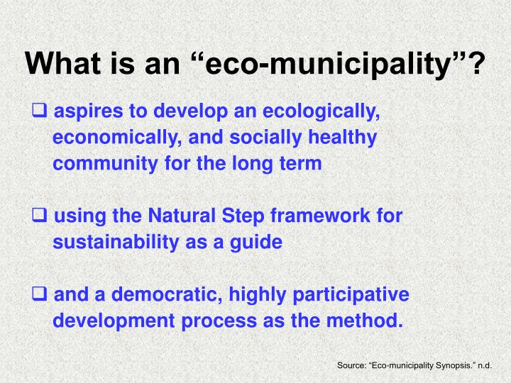 """What is an """"eco-municipality""""?"""