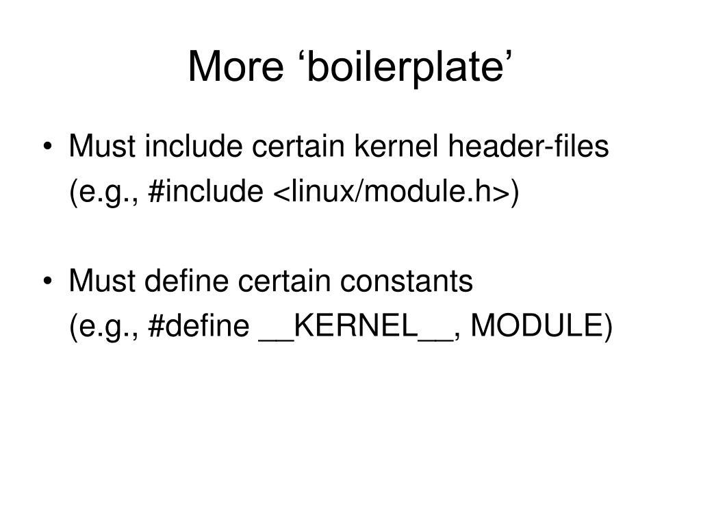 More 'boilerplate'