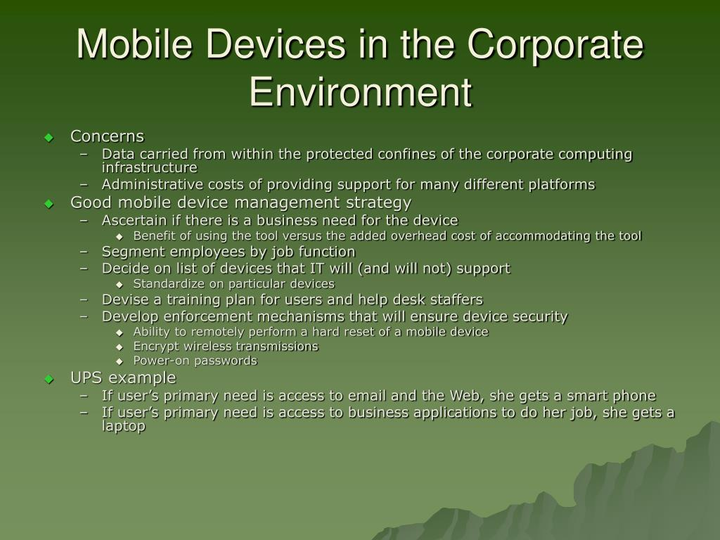 Mobile Devices in the Corporate Environment