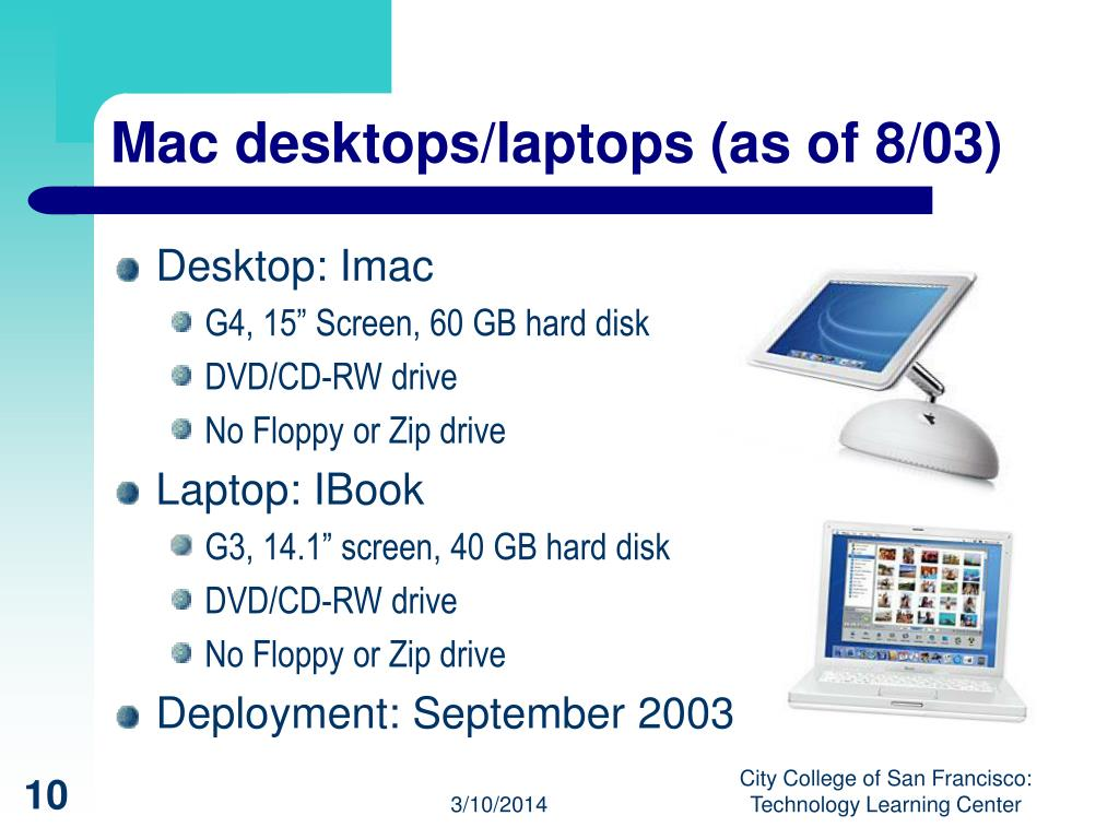 Mac desktops/laptops (as of 8/03)
