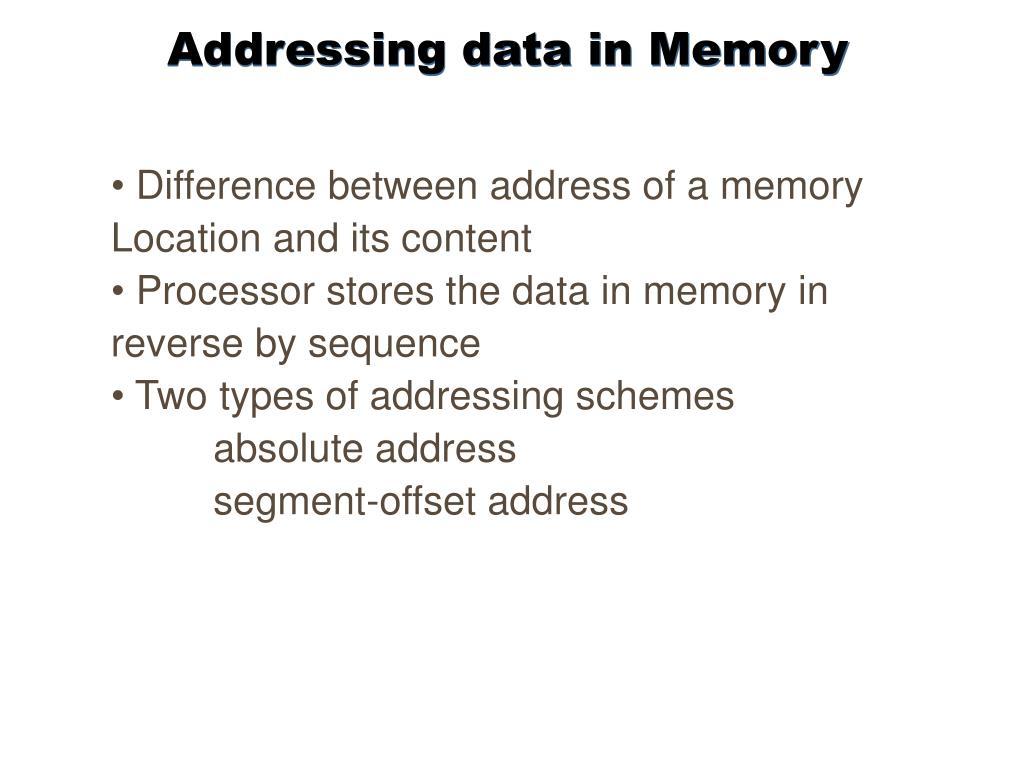 Addressing data in Memory