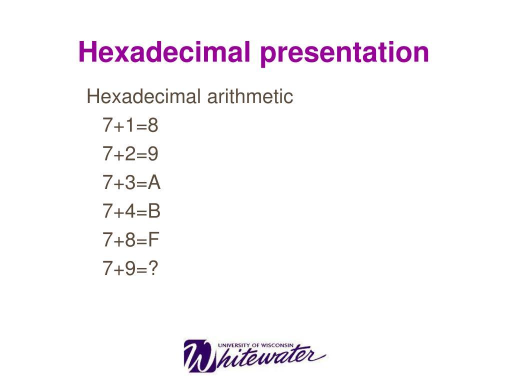 Hexadecimal presentation