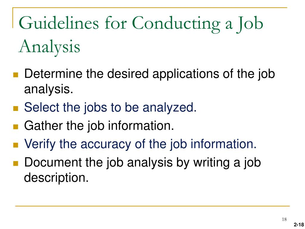 Guidelines for Conducting a Job Analysis