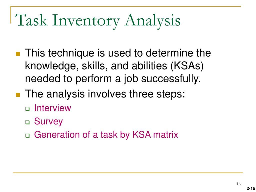 Task Inventory Analysis