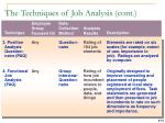 the techniques of job analysis cont