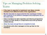 tips on managing problem solving teams