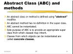 abstract class abc and methods