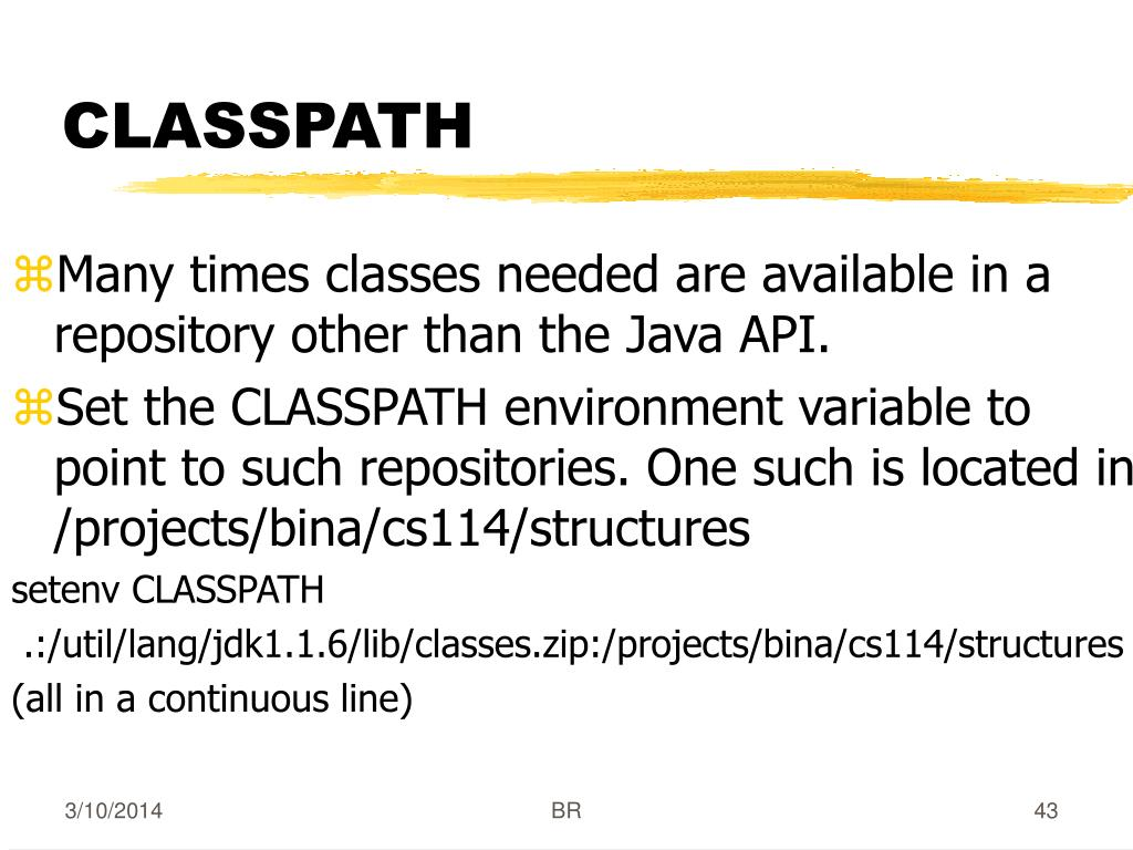 Many times classes needed are available in a repository other than the Java API.