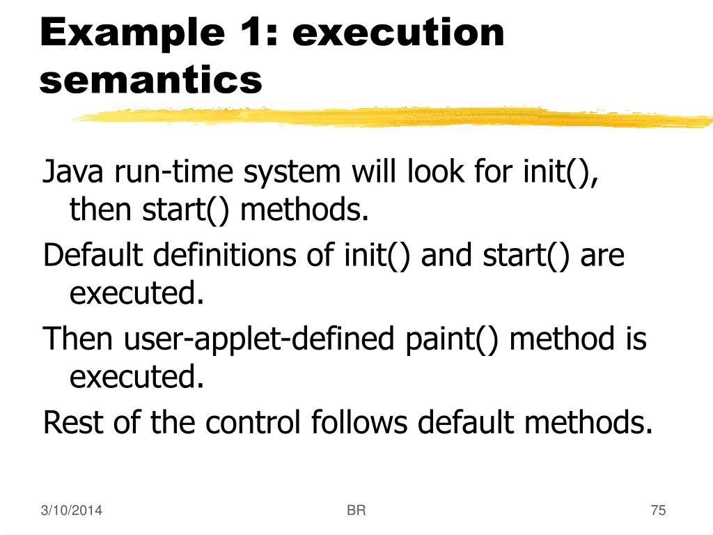 Example 1: execution semantics