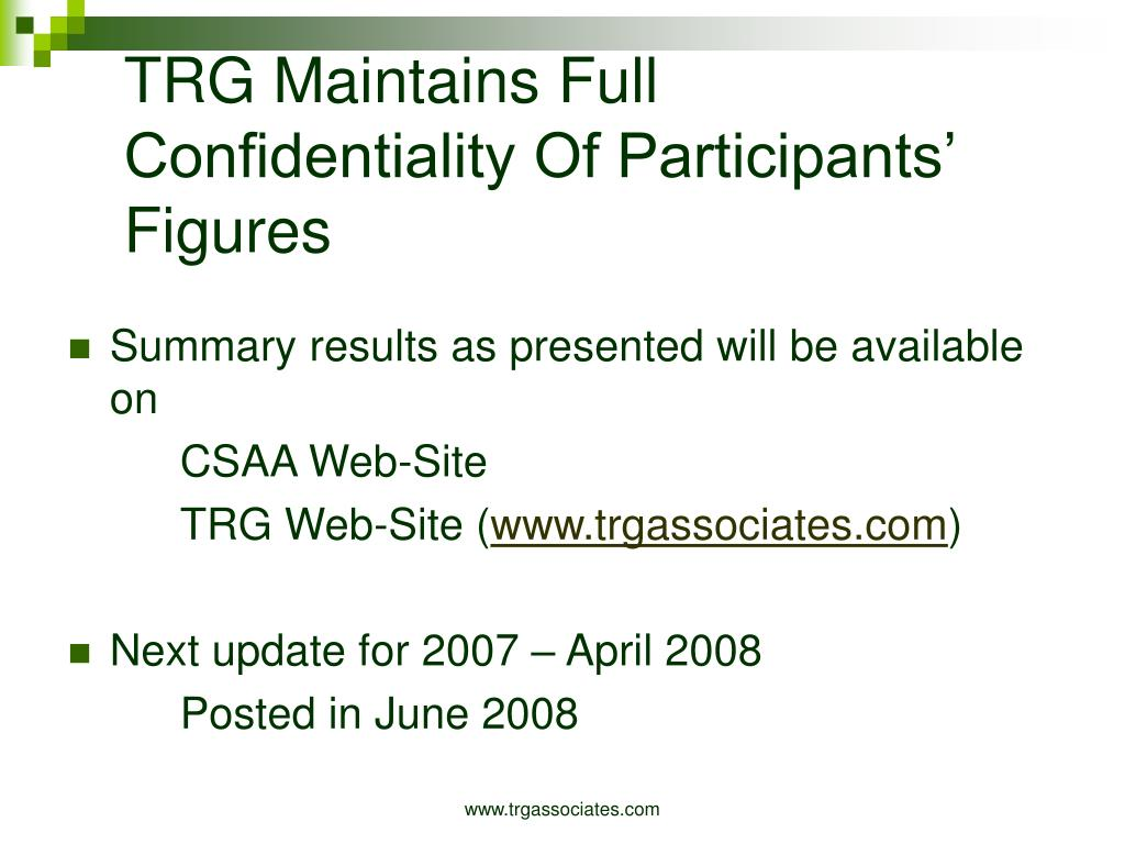 TRG Maintains Full Confidentiality Of Participants' Figures