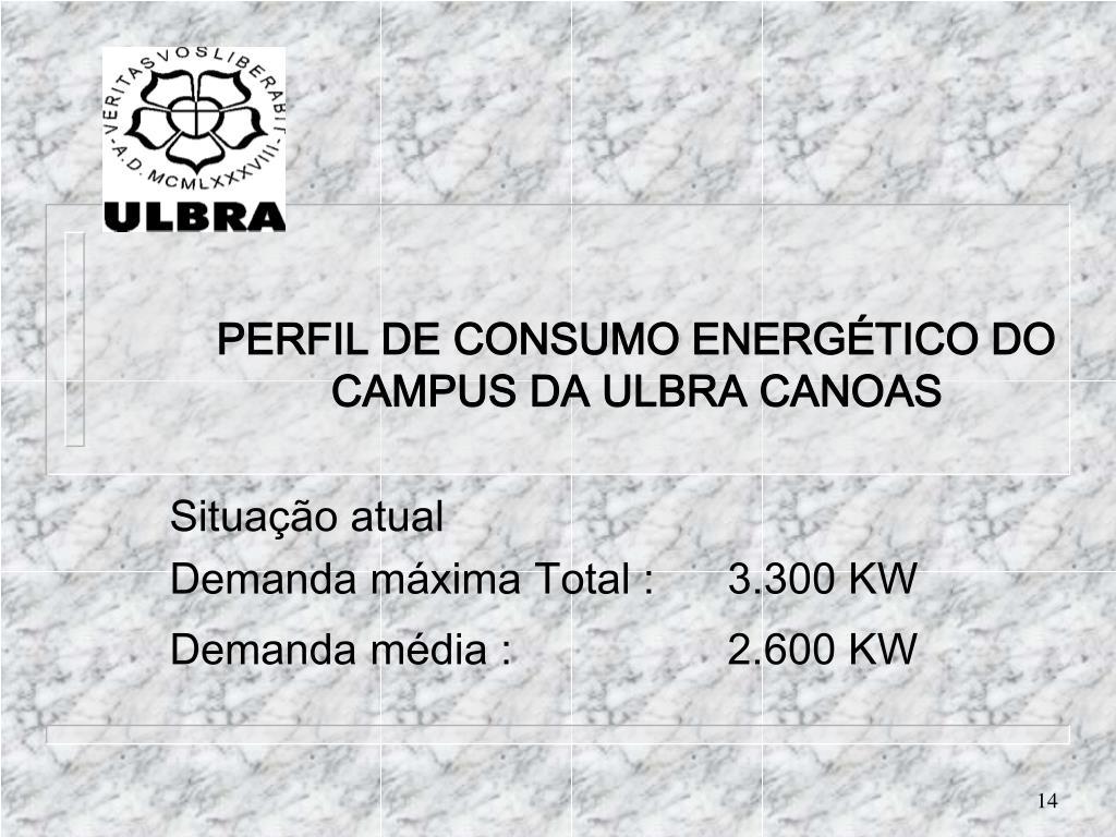 PERFIL DE CONSUMO ENERGÉTICO DO CAMPUS DA ULBRA CANOAS