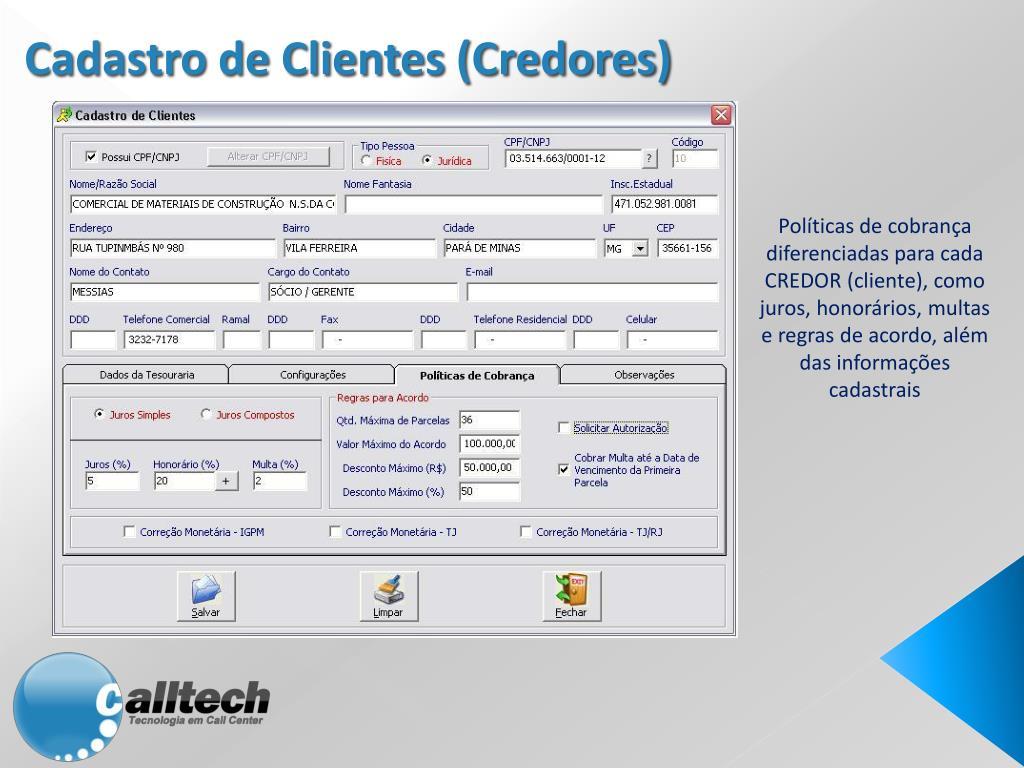 Cadastro de Clientes (Credores)