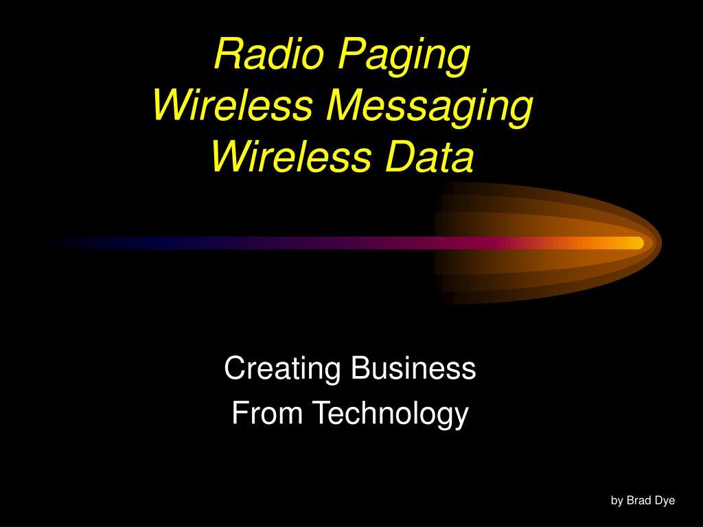 radio paging wireless messaging wireless data