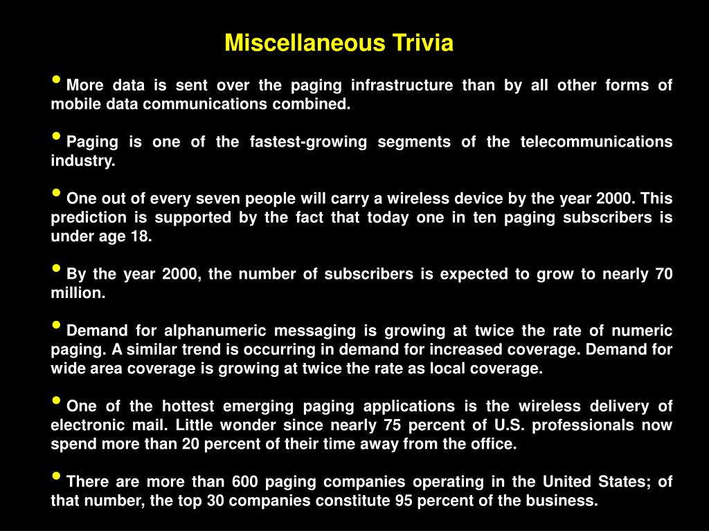 Miscellaneous Trivia
