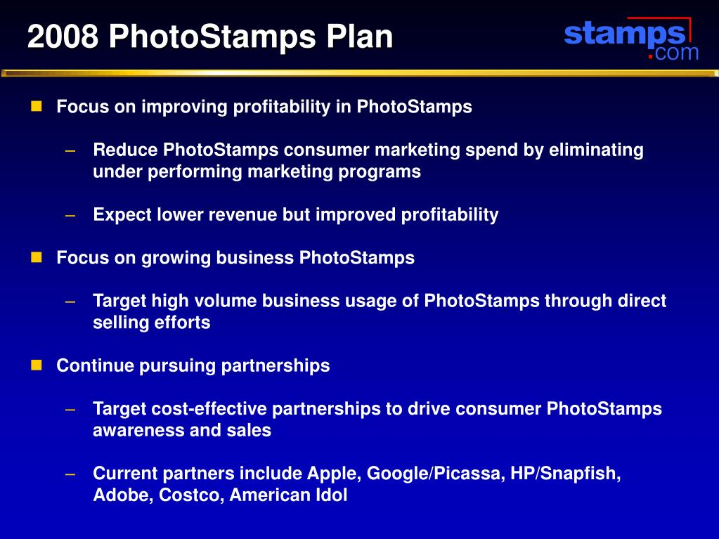 2008 PhotoStamps Plan