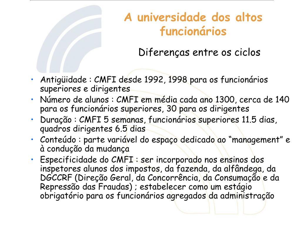 Antigüidade : CMFI desde 1992, 1998 para os funcionários superiores e dirigentes