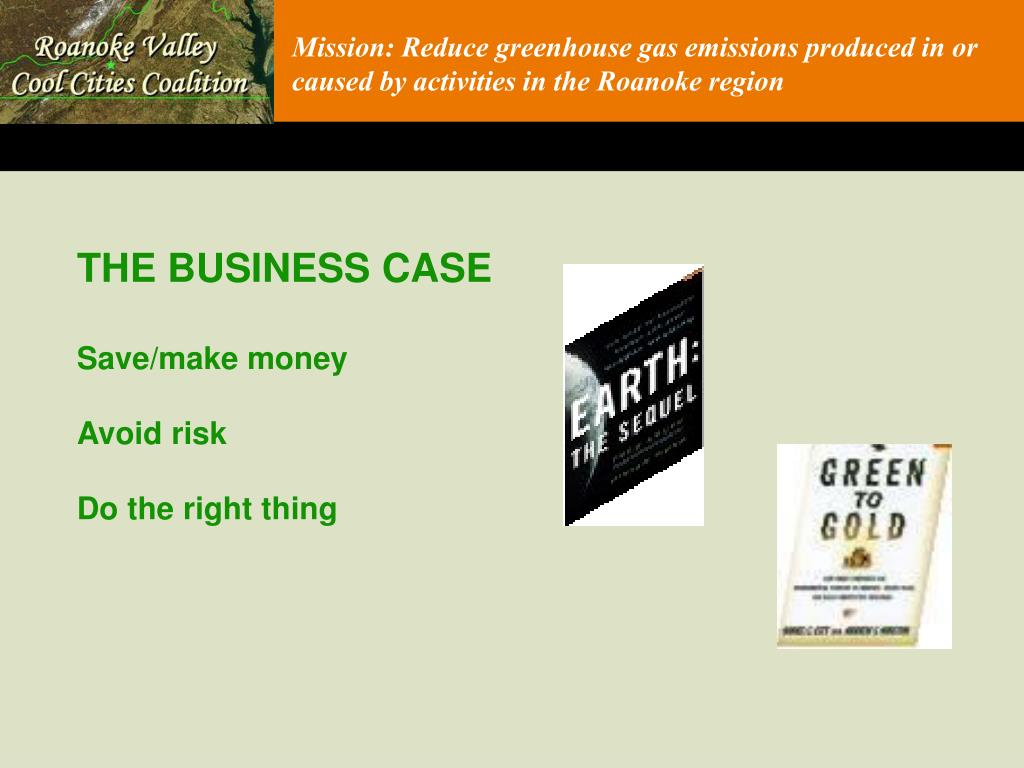 Mission: Reduce greenhouse gas emissions produced in or caused by activities in the Roanoke region