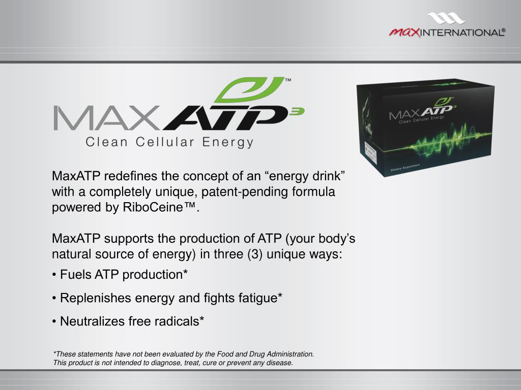 """MaxATP redefines the concept of an """"energy drink"""" with a completely unique, patent-pending formula powered by RiboCeine™."""