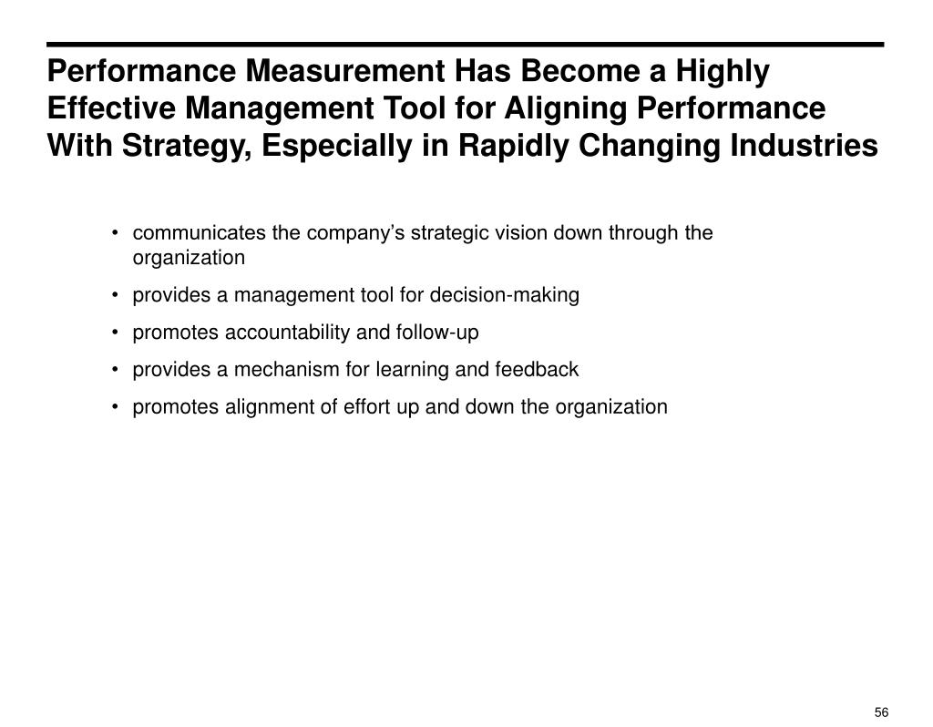 Performance Measurement Has Become a Highly Effective Management Tool for Aligning Performance With Strategy, Especially in Rapidly Changing Industries