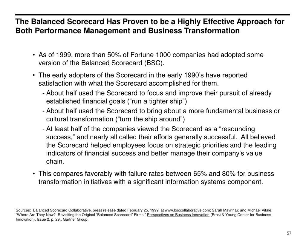 The Balanced Scorecard Has Proven to be a Highly Effective Approach for Both Performance Management and Business Transformation
