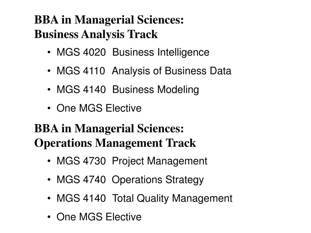 BBA in Managerial Sciences: