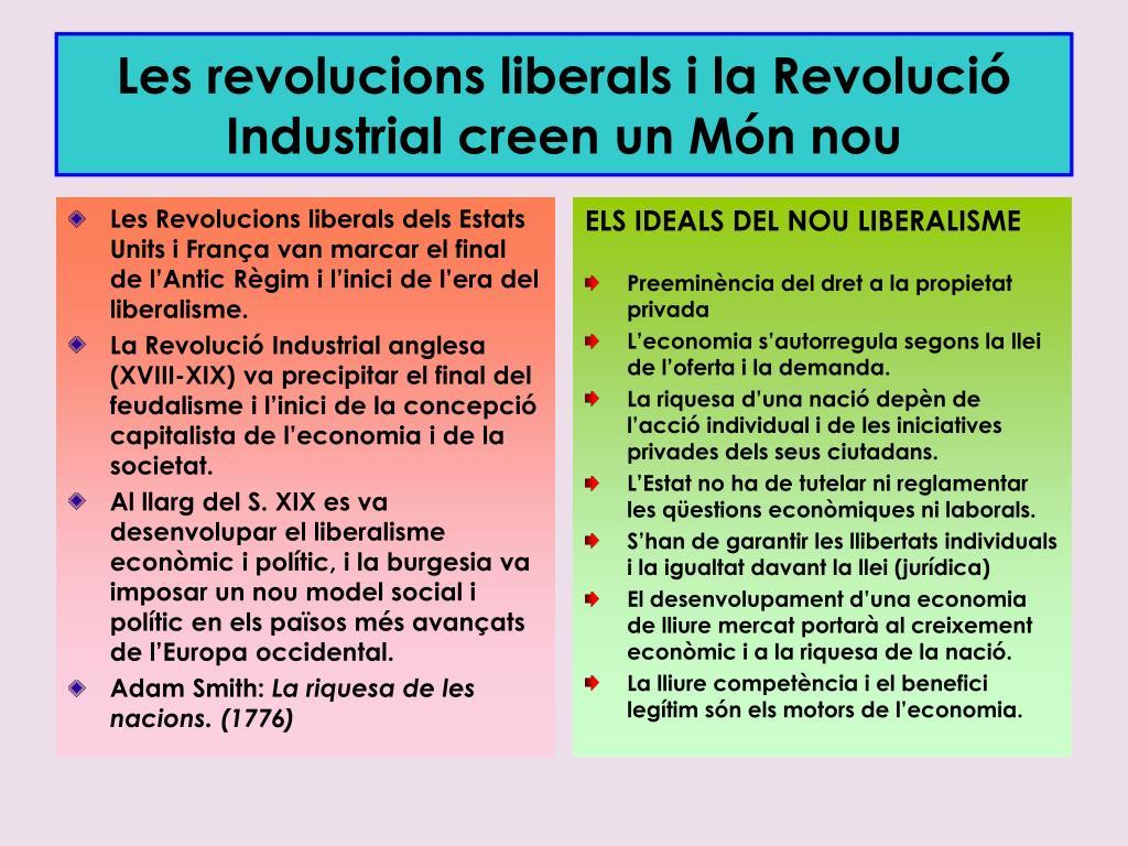 Les Revolucions liberals dels Estats Units i França van marcar el final de l'Antic Règim i l'inici de l'era del liberalisme.