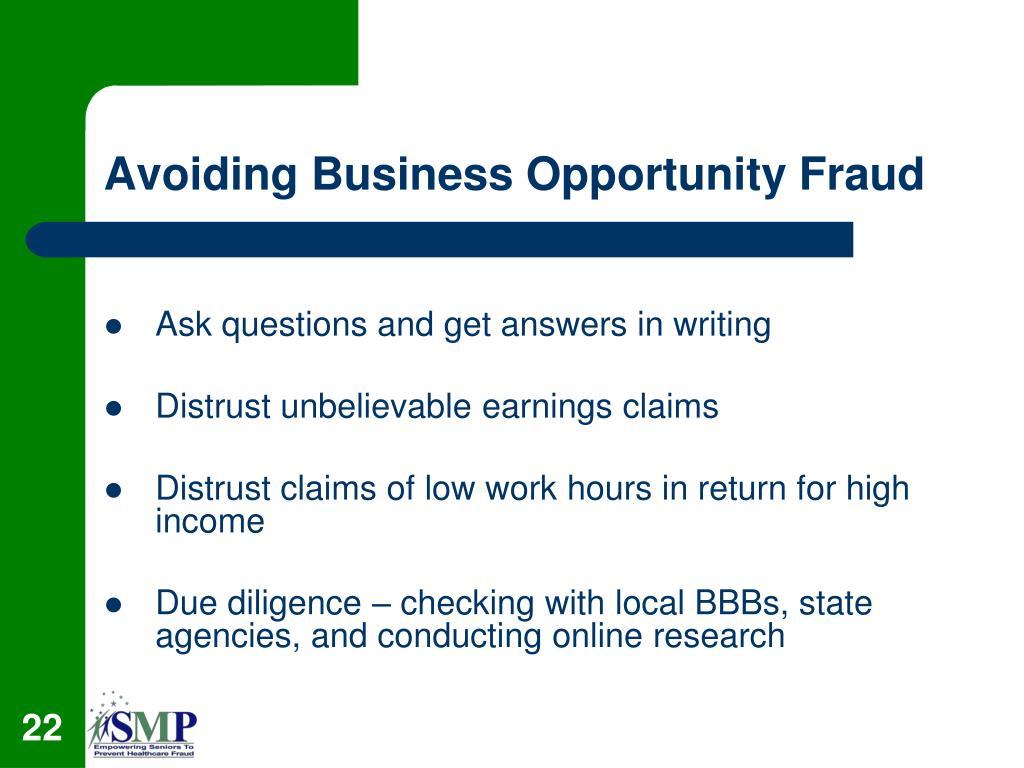 Avoiding Business Opportunity Fraud