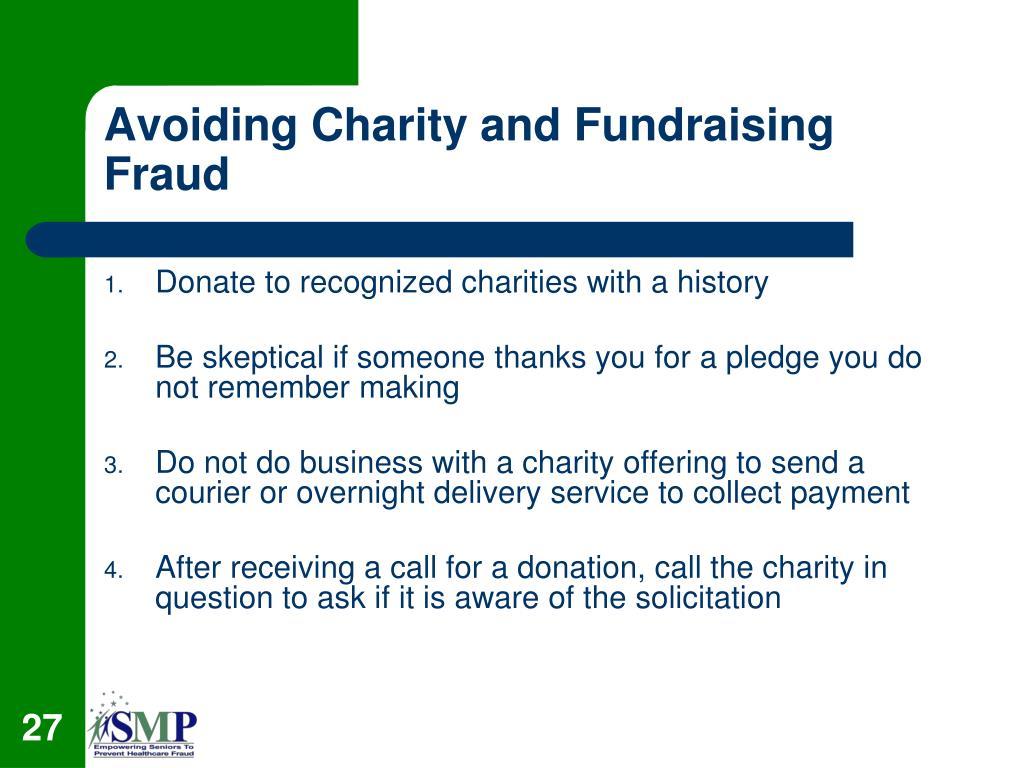 Avoiding Charity and Fundraising Fraud