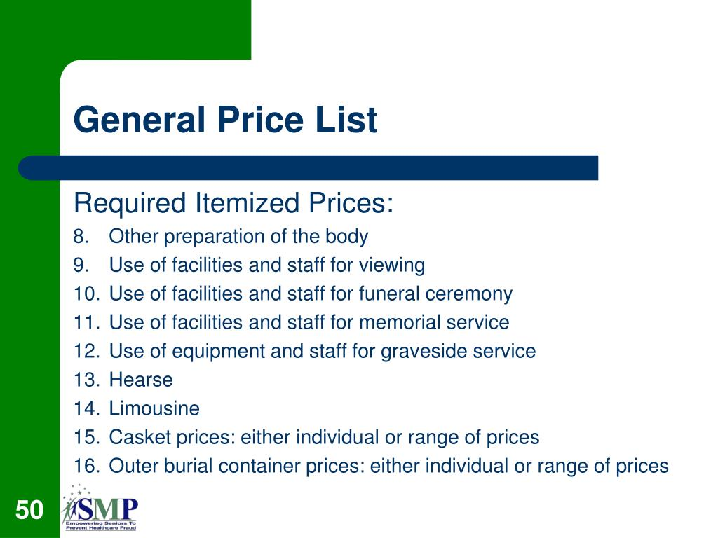 General Price List