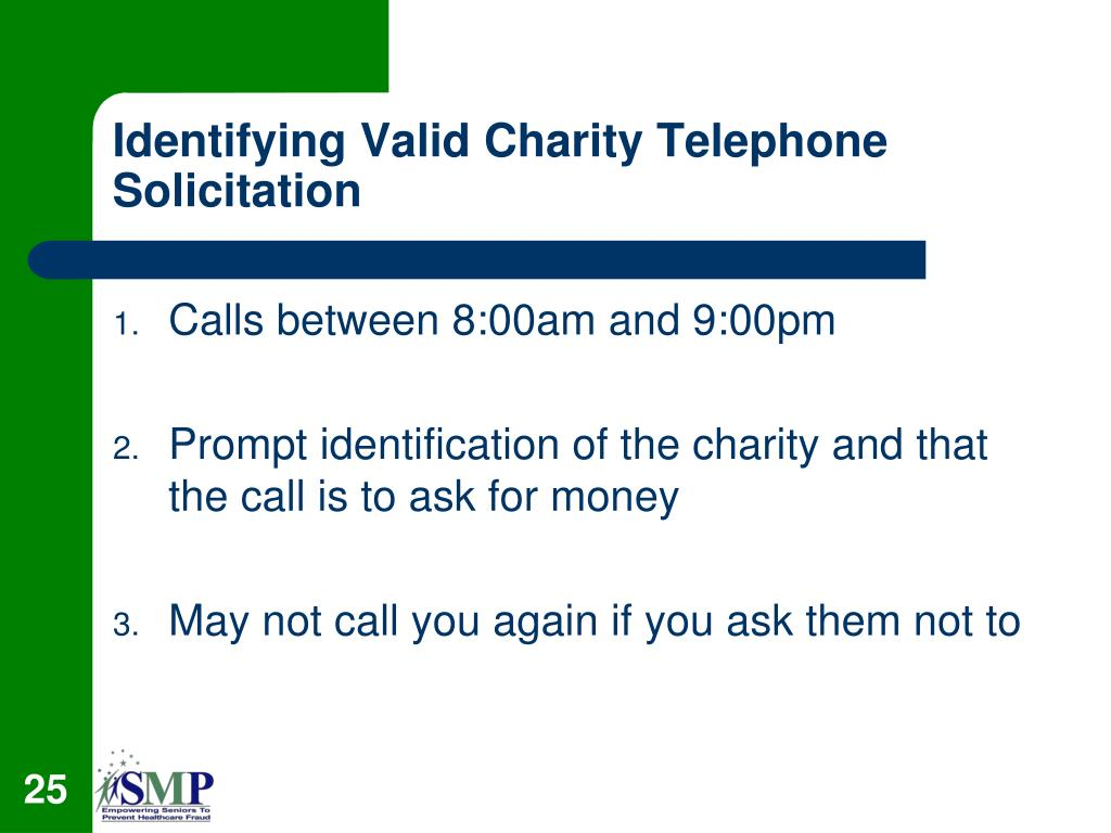 Identifying Valid Charity Telephone Solicitation