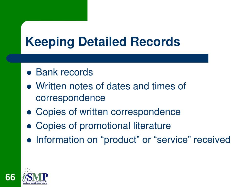 Keeping Detailed Records