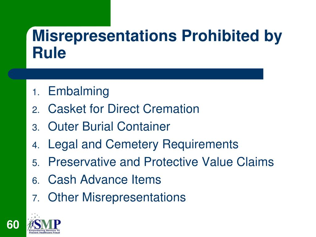 Misrepresentations Prohibited by Rule