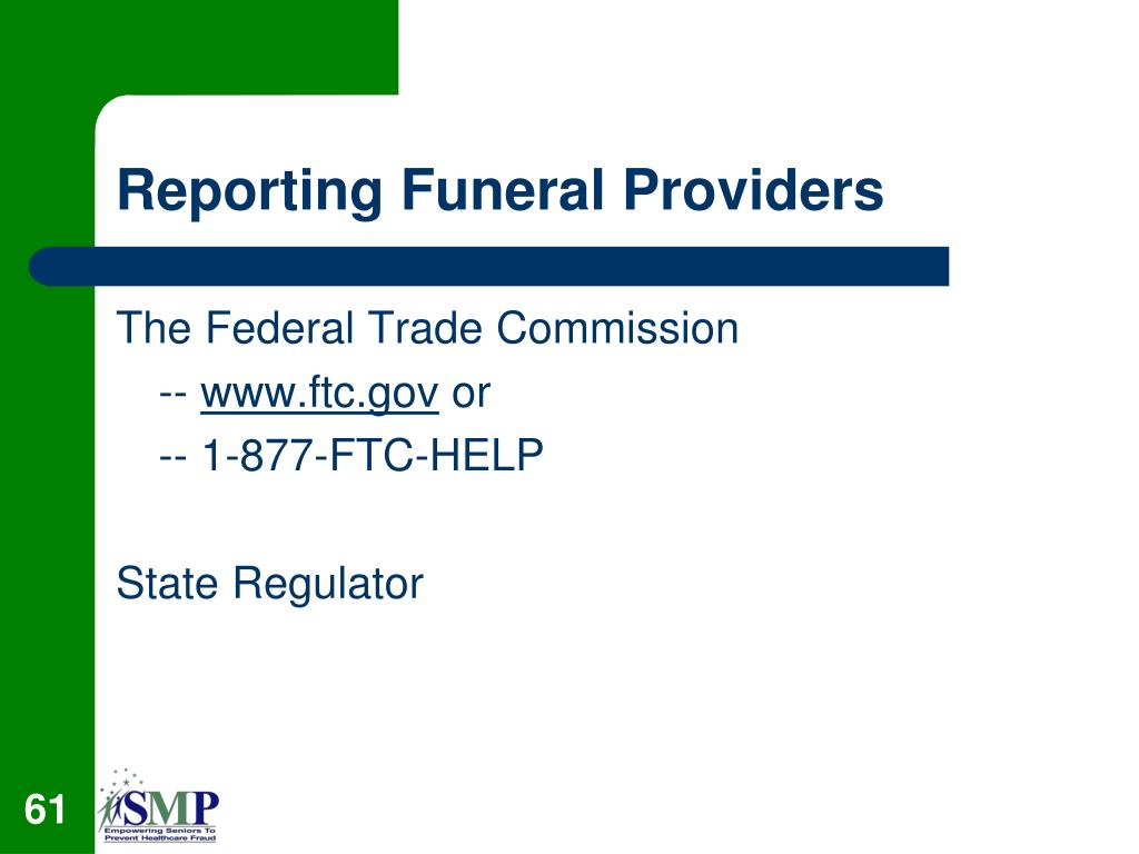 Reporting Funeral Providers