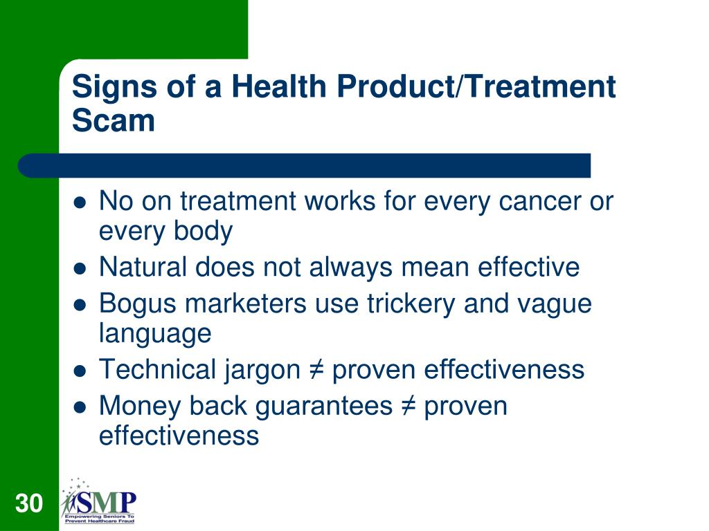 Signs of a Health Product/Treatment Scam