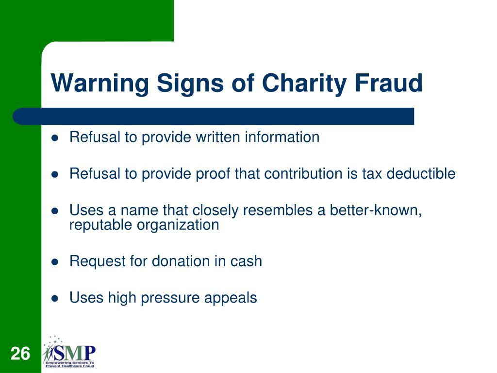 Warning Signs of Charity Fraud