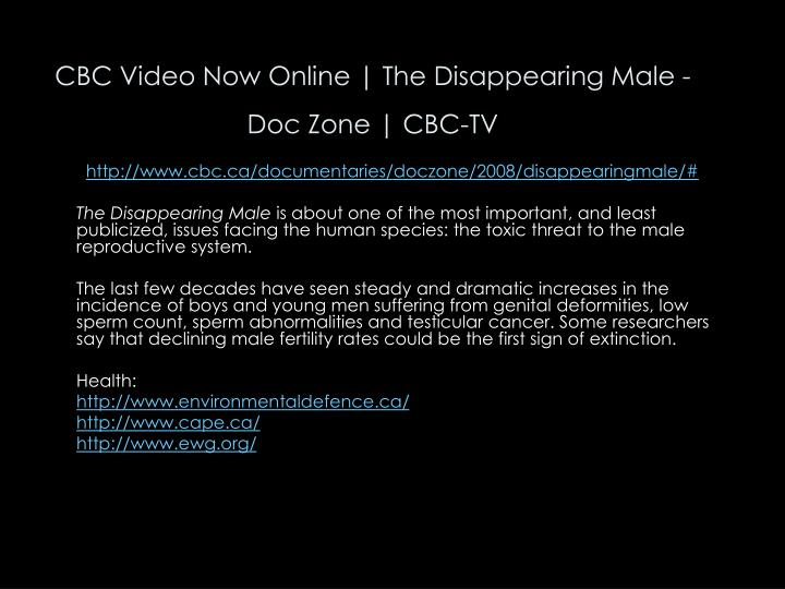 CBC Video Now Online | The Disappearing Male - Doc Zone | CBC-TV