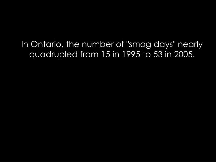 """In Ontario, the number of """"smog days"""" nearly quadrupled from 15 in 1995 to 53 in 2005."""