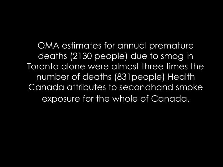 OMA estimates for annual premature deaths (2130 people) due to smog in Toronto alone were almost three times the number of deaths (831people) Health Canada attributes to secondhand smoke exposure for the whole of Canada.