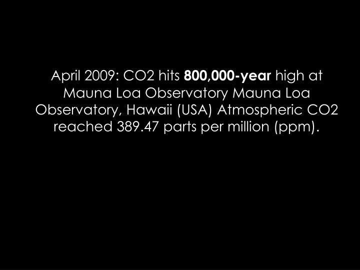 April 2009: CO2 hits