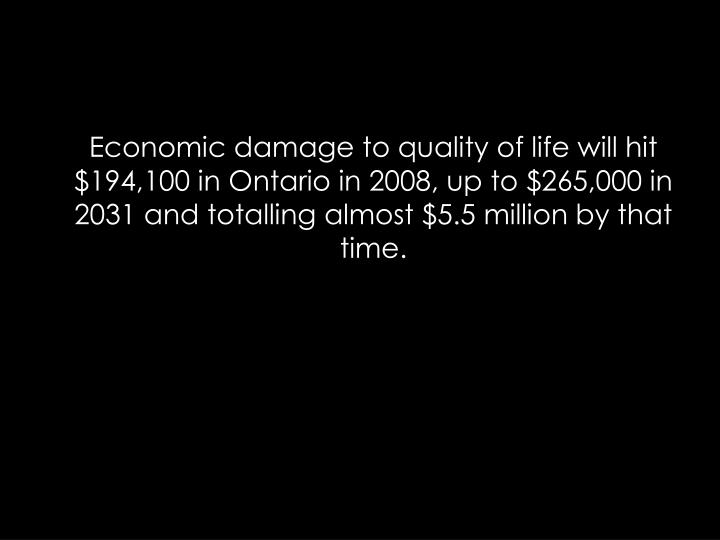 Economic damage to quality of life will hit $194,100 in Ontario in 2008, up to $265,000 in 2031 and